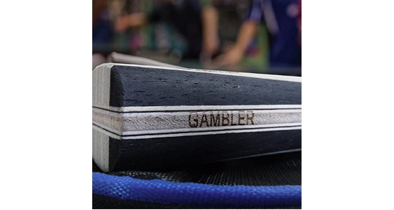 Showing the Beautiful Wood Handle on the Gambler Pro Paddle